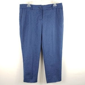 Blue on blue abstract light weight cotton capris.